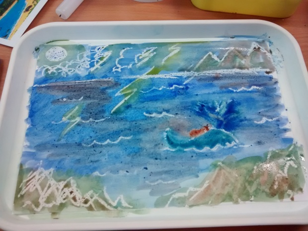 We used wax resist painting to interpret scenes from the book, showing how it can be used it incorporate art.